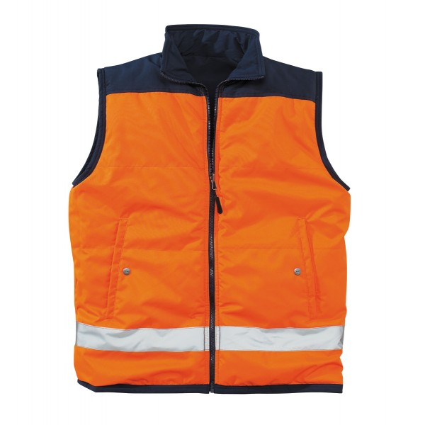 gilet de travail bodywarmer r versible marine orange fluo. Black Bedroom Furniture Sets. Home Design Ideas
